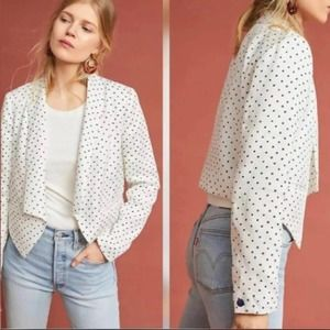 Anthro Cartonnier White Polka Dot Drape Blazer